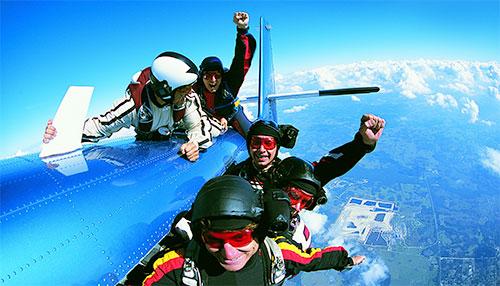 Skydivers on Plane